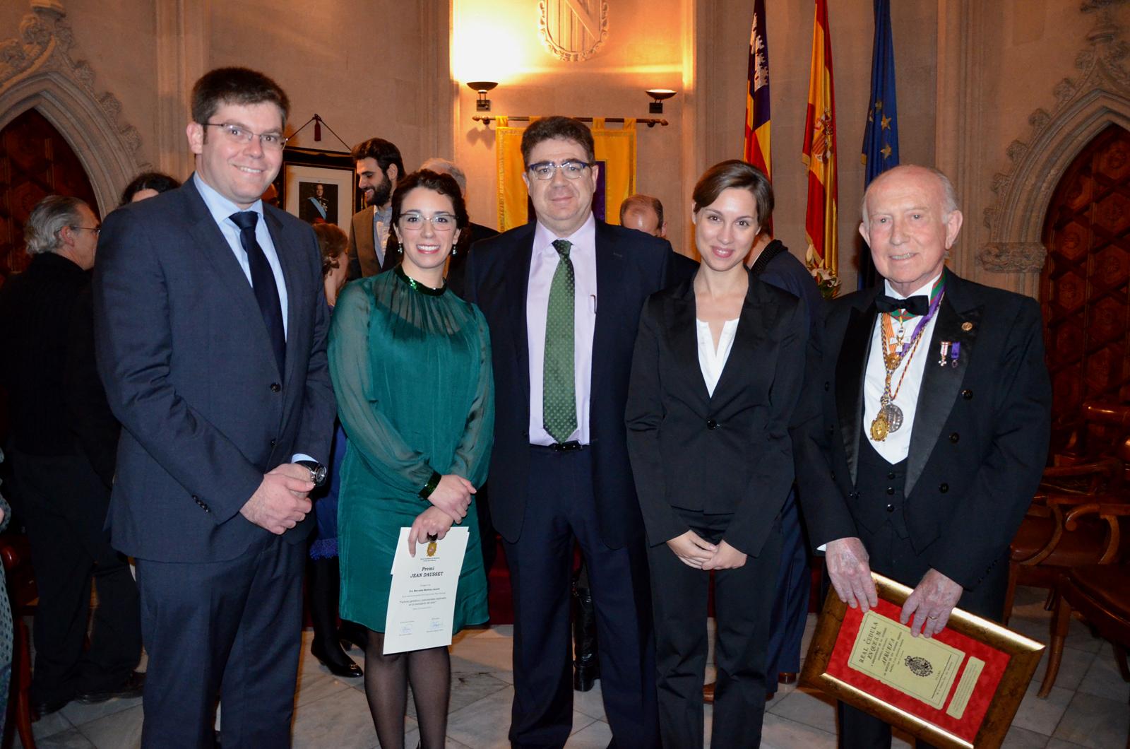 Martí Sansaloni (conseller de Salut), Mercedes Martínez (premio Jean Dausset), Antoni Bennassar (presidente del Col·legi de Metges), Auxi Santandreu (Patronat Científic) y Alfonso Ballesteros (director del Patronat Científic).