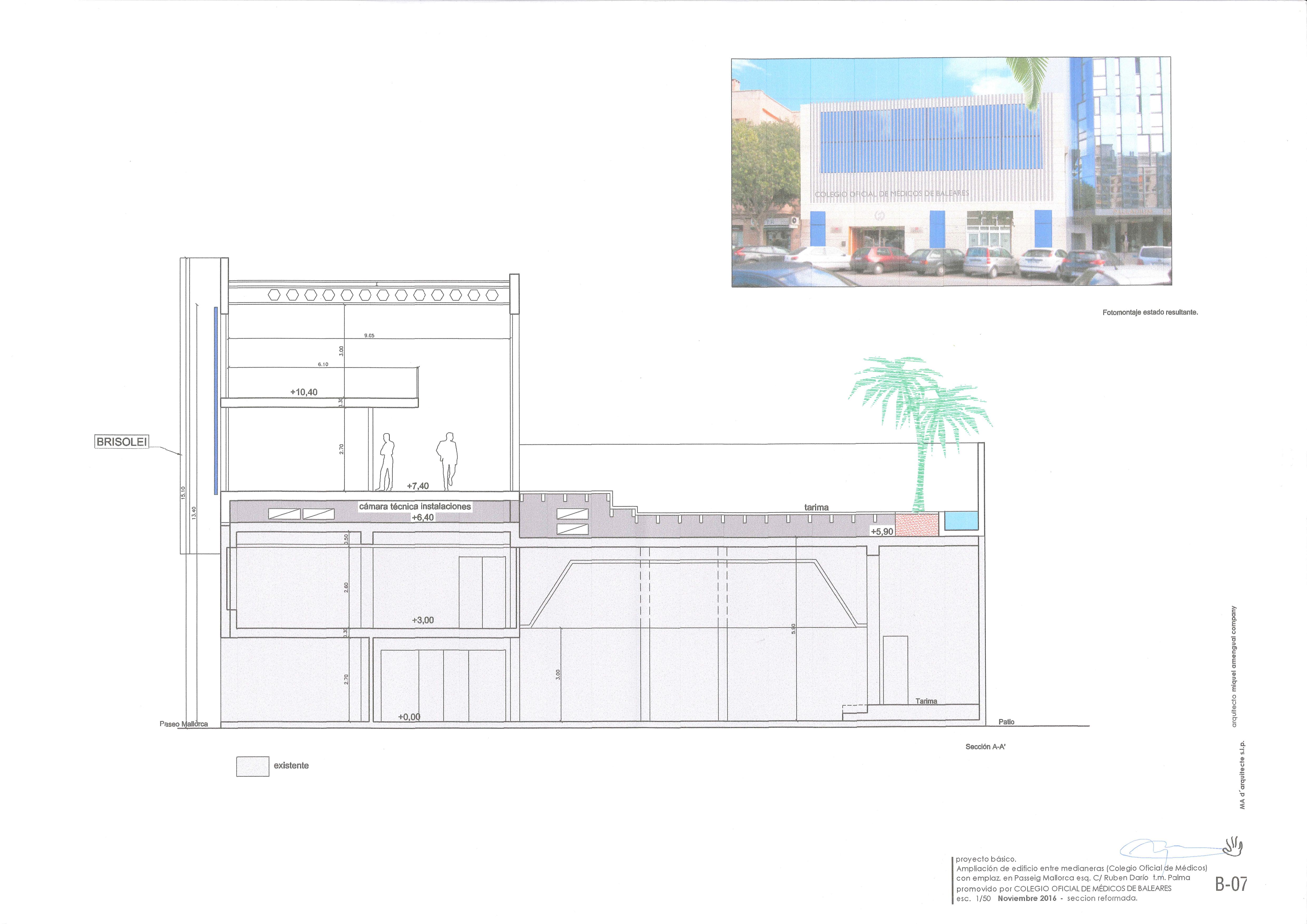Plano sección del proyecto de ampliación