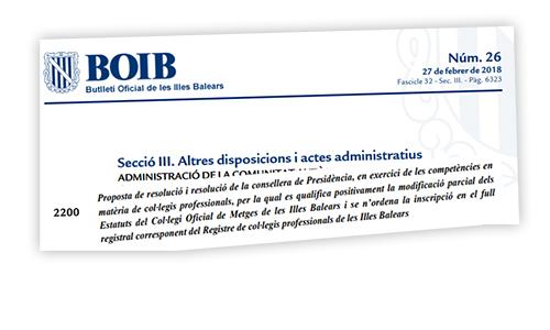 El BOIB publica la modificación de los Estatutos del Col·legi de Metges