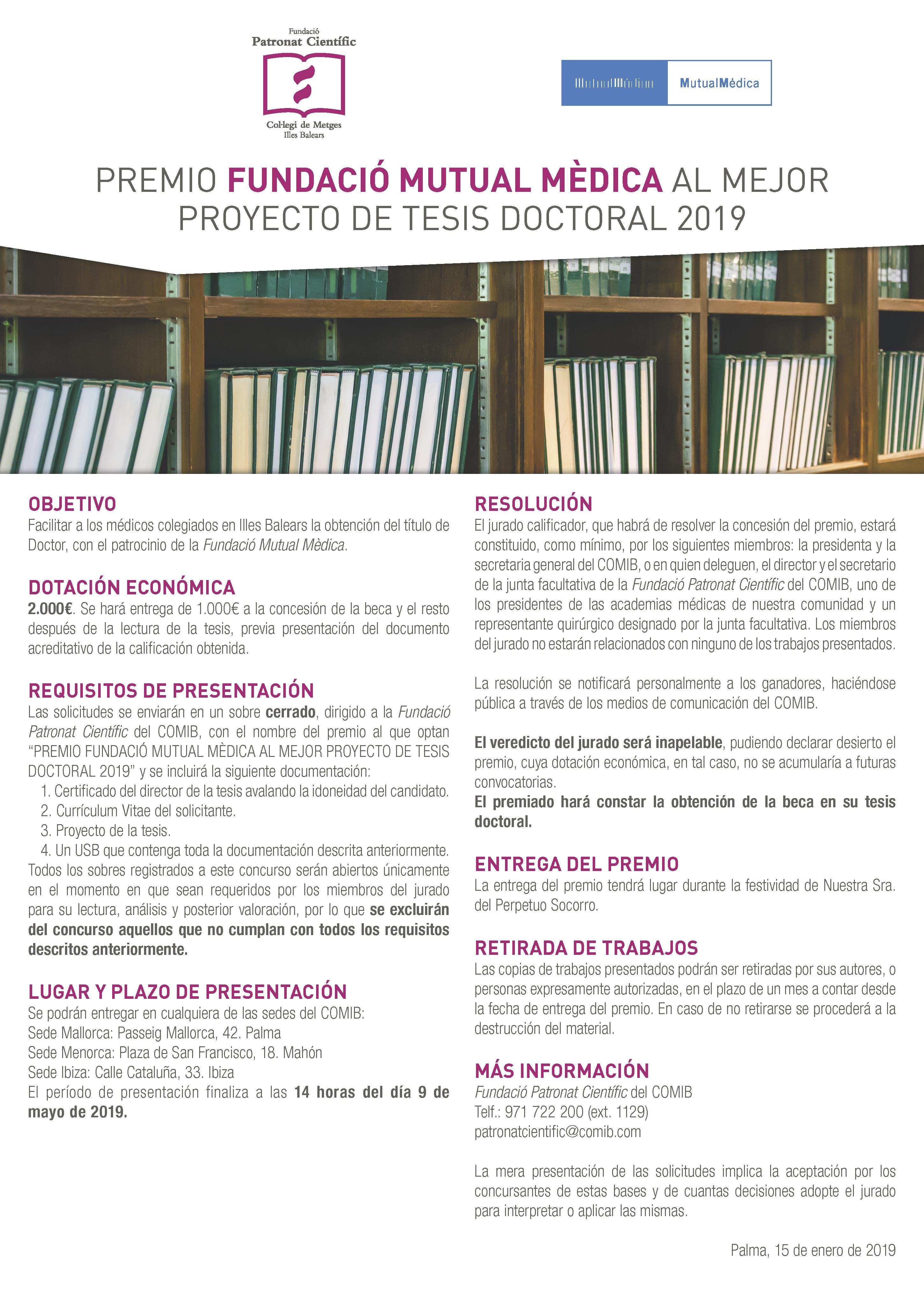 Bases Premio mejor proyecto tesis doctoral 2019