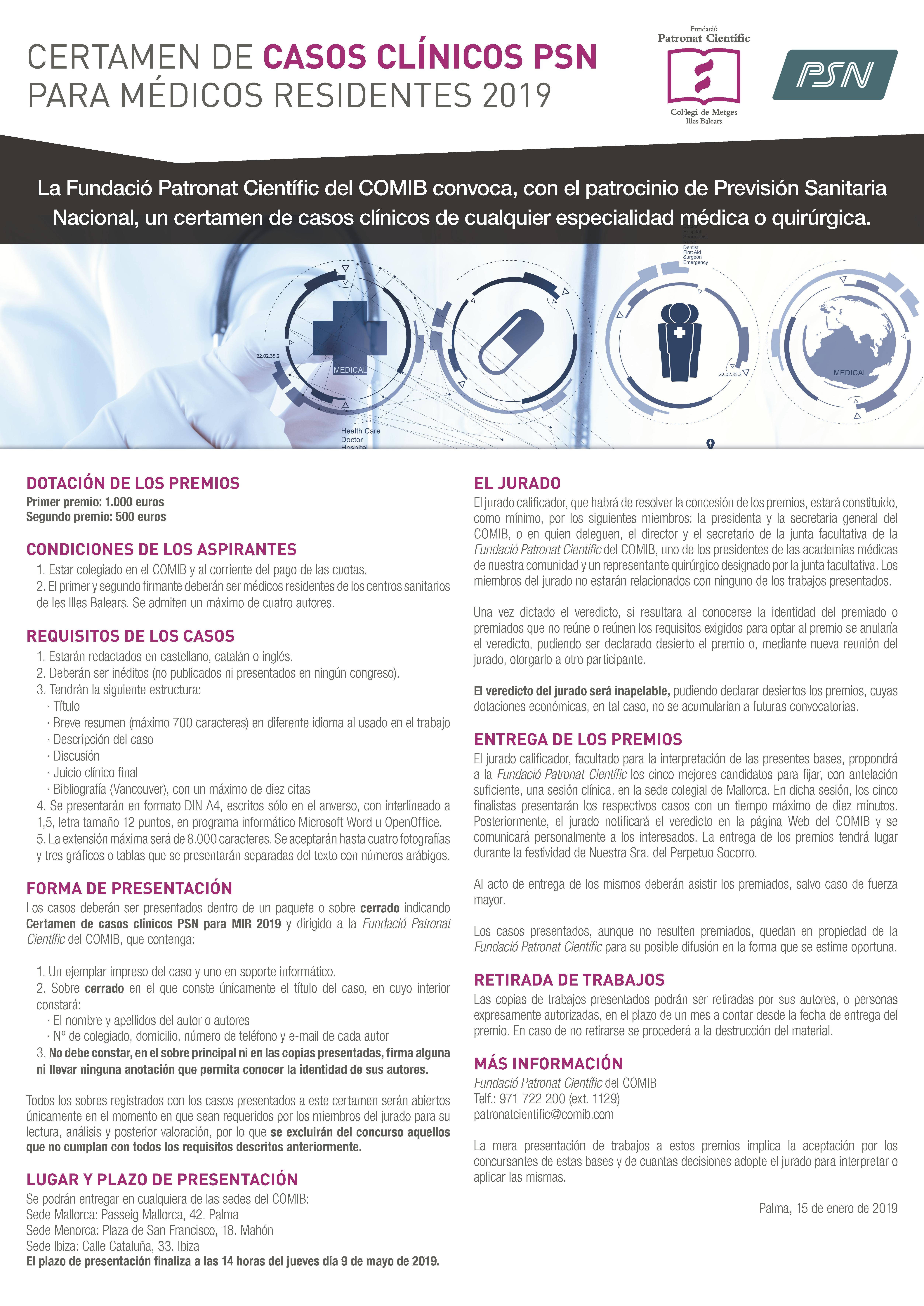 Convocatoria Certamen de casos clinicos PSN 2019